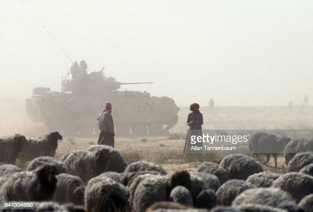 View of Iraqi shepherds and their flock of sheep as an American M3 Bradley Fighting Vehicle passes during the Gulf War Iraq 1991