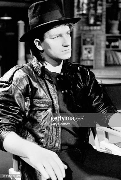 View of Irish Rock musician Bono of the group U2 during an interview at MTV Studios New York New York April 20 1983