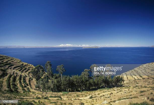 View of Isla del Sol seen from the village of Yumani Lake Titicaca Bolivia