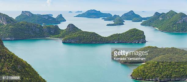 view of islands from ang thong national marine park, thailand. - surat thani province stock pictures, royalty-free photos & images