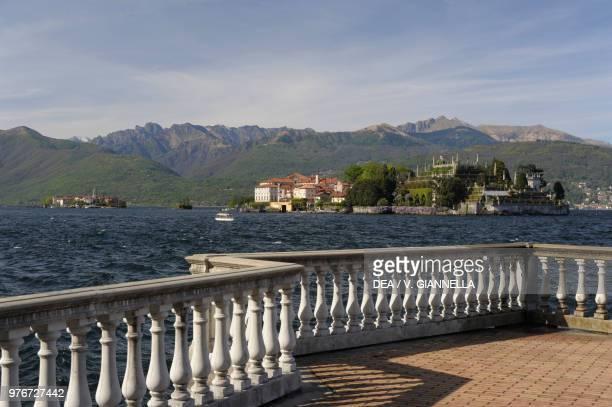 View of Isola Bella from the lakefront of Stresa, Lake Maggiore, Piedmont, Italy.