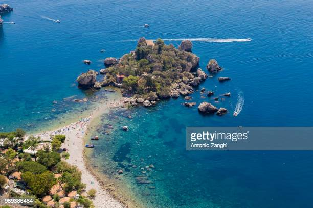 view of isola bella in taormina, sicily, italy - taormina stock pictures, royalty-free photos & images