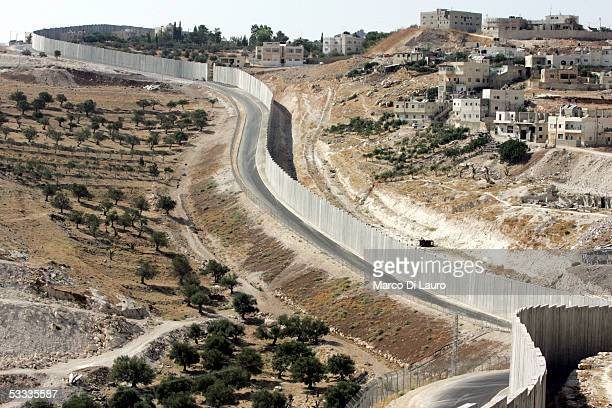 View of Israel's highly controversial West Bank barrier, where the British, guerrilla, graffiti artist Banksy, has painted some of his graffiti is...