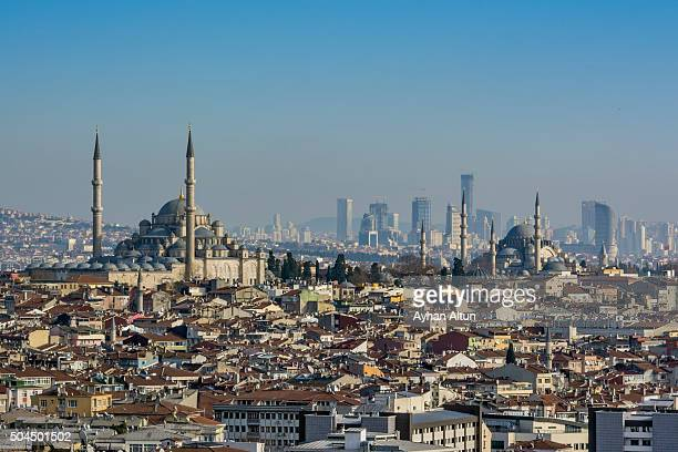 View of Istanbul Skyline from the old city,Turkey
