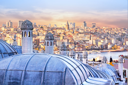 View of Istanbul, the Golden Horn Bay and the dome of the Hagia Sophia 951699138
