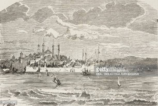 View of Istanbul with Hagia Sophia and the old Serraglio Turkey drawing by Gustave Dore from a sketch by Bordone illustration from Musee...