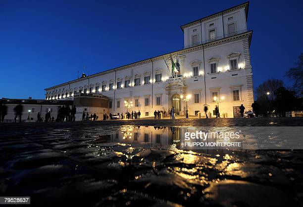 A view of Italian Repulic presidential palace Palazzo del Quirinale in downtown Rome February 5 2008 President of Italy Giorgio Napolitano summoned...