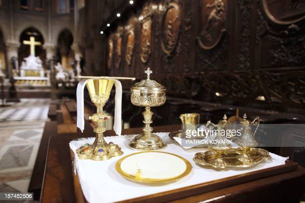 A view of items used by priests for an evening Vespers mass in the NotreDame de Paris cathedral on November 29 in Paris AFP PHOTO / PATRICK KOVARIK