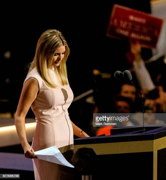 View of Ivanka Trump one of candidate Trump's daughters as she speaks from the podium during the Republican National Convention on its final day at...