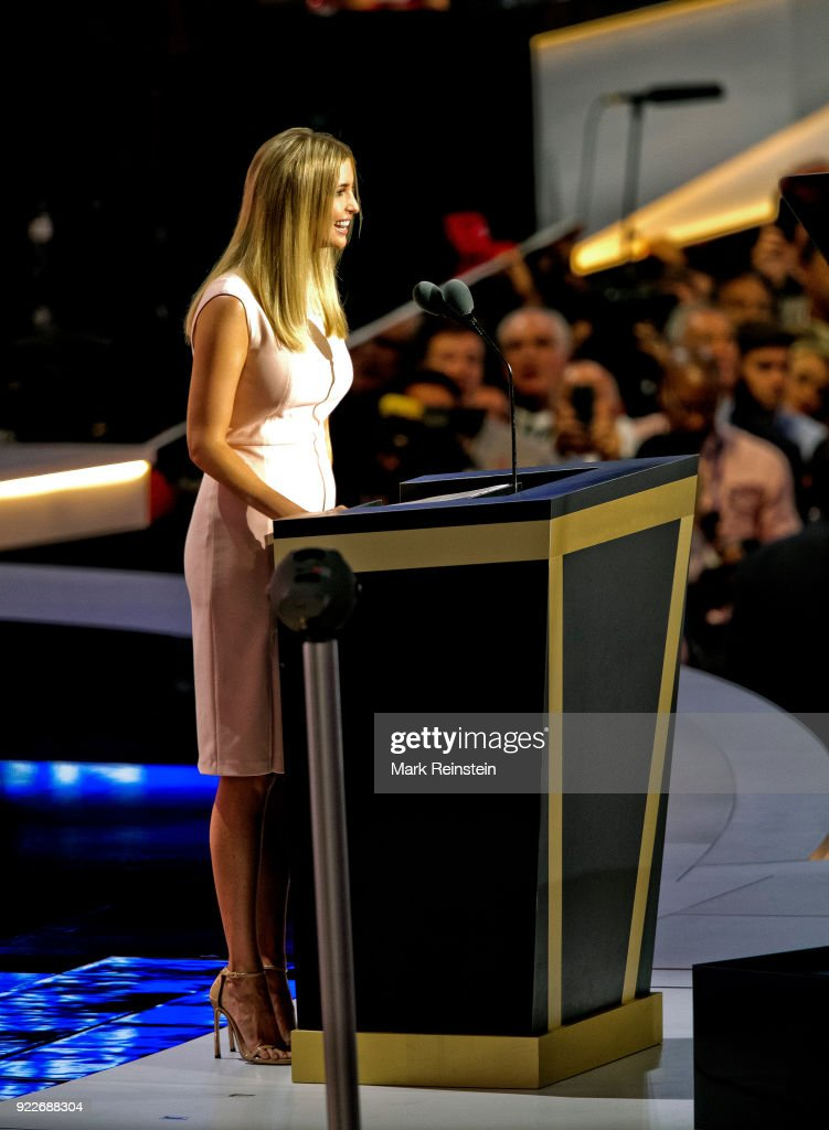 View of Ivanka Trump, one of candidate Trump's daughters, as she speaks from the podium during the Republican National Convention on its final day at the Quicken Loans Arena, Cleveland, Ohio, July 21, 2016.
