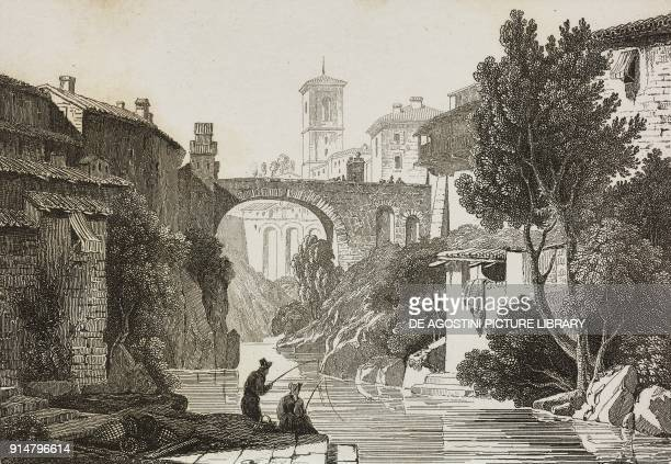 View of Ivrea with the Ponte Vecchio over the Dora Baltea Piedmont Italy engraving from Italie by AlexisFrancois Artaud de Montor Sicilie by Gigault...