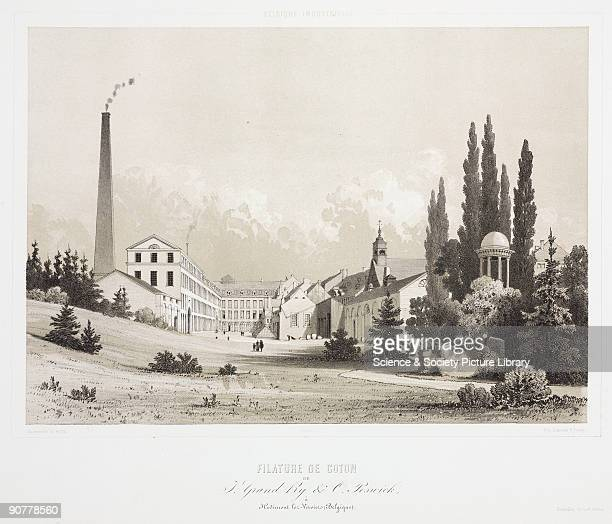 View of J Grand O Poswick�s cotton mill in Hodiment lezVerviers in Belgium set in landscaped grounds