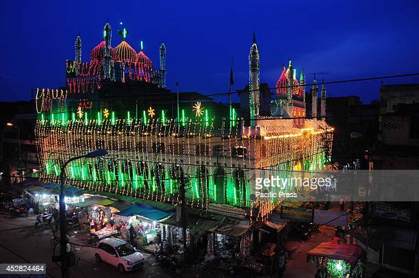 A view of Jama Masjid in the old city market before the Eid in Allahabad