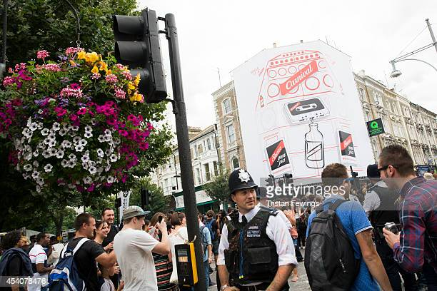 A view of Jamaican lager brand Red Stripe's building wrap measuring 12m high by 11m wide in Ladbroke Grove depicting a traditional Notting Hill...