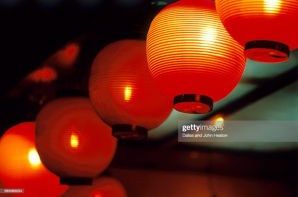View of japanese lanterns, Dotombor, Osaka, Osaka Prefecture, Kinki Region, Honshu, Japan : Stock Photo