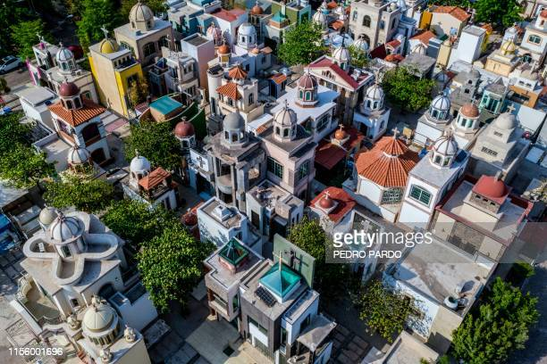 View of Jardines del Humaya cemetery known due to its mausoleums where drug traffickers are buried that count with luxuries and services such as air...