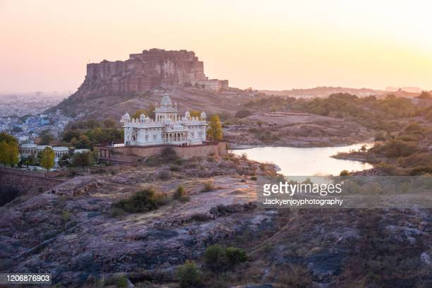 view of jaswant thada and mehrangarh fort in jodhpur city in rajasthan, india - india summer stock pictures, royalty-free photos & images