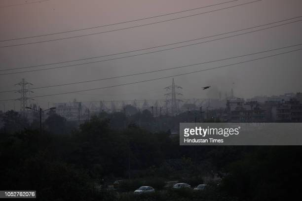 A view of Jawahar Lal Nehru Stadium amid a layer of smog on October 22 2018 in New Delhi India Air pollution continues to be above hazardous levels...