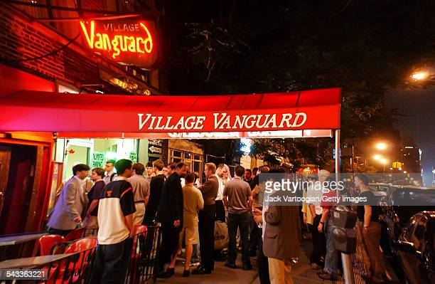 View of Jazz fans outside the Village Vanguard between sets by the Vanguard Jazz Orchestra during the JVC Jazz Festival New York New York June 24 2002
