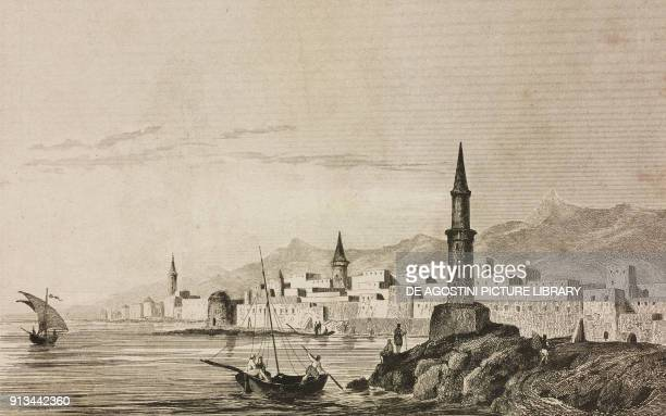 View of Jeddah Saudi Arabia engraving by Lemaitre and Traversier from Arabie by Noel Desvergers avec une carte de l'Arabie et note by Jomard...