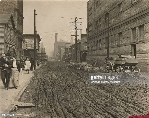 View of Jefferson Street north from Ewing Street Chicago Illinois April 28 1910 Ewing Street is now known as West Cabrini Street