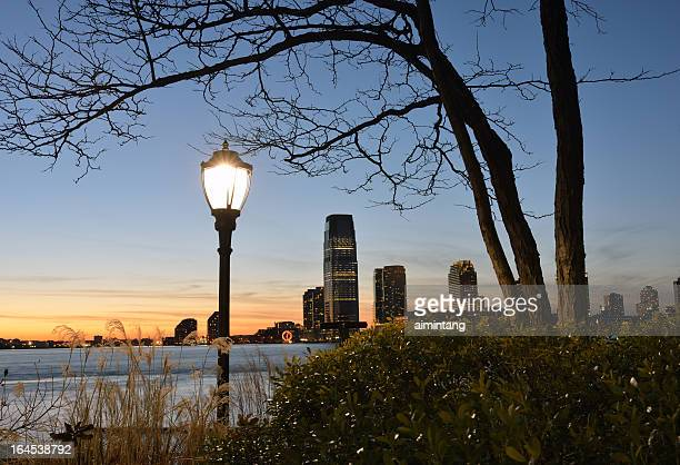 View of Jersey City at sunset from Battery Park