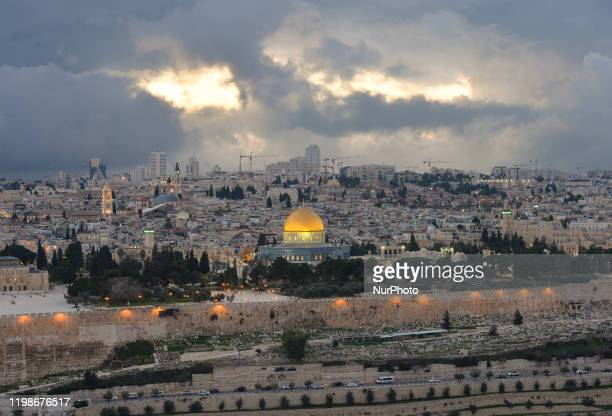 A view of Jerusalem Old City with the Dome of the Rock at sunset in the winter On Tuesday February 4 in Jerusalem Israel