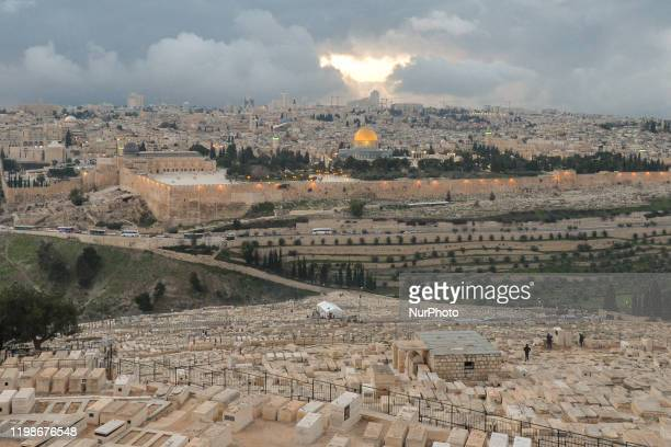 View of Jerusalem Old City with the Dome of the Rock at sunset in the winter. On Tuesday, February 4 in Jerusalem, Israel.