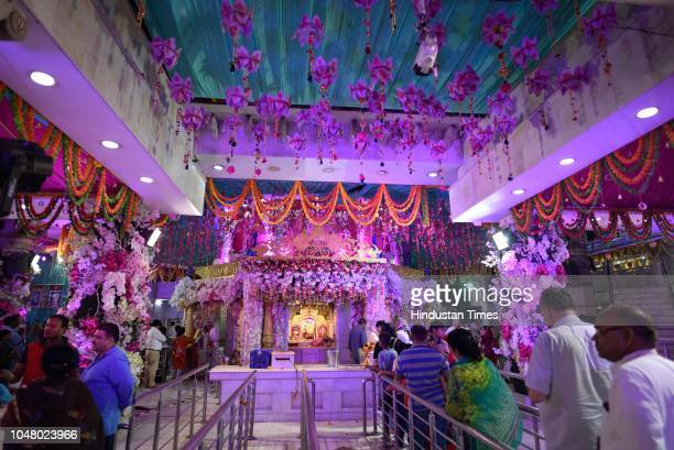 A view of Jhandewalan Temple on the eve of Navratri at Jhandewalan on October 9 2018 in New Delhi India The Navratri festival is dedicated to the...