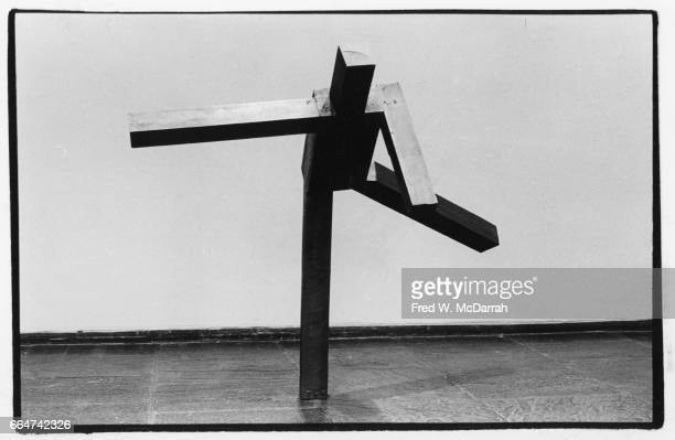 View of Joel Shapiro's sculpture 'Untitled' on display during the Whitney Biennial New York New York February 20 1981