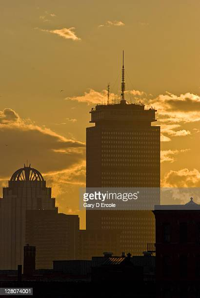 View of John Hancock & Prudential towers at sunset, Boston, Massachusetts, USA