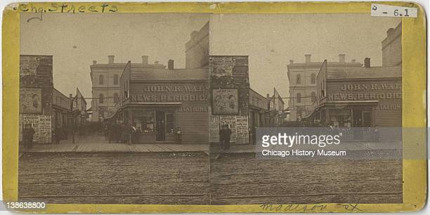 View of John R Walsh Periodicals store on Madison Street Chicago Illinois late 1860s