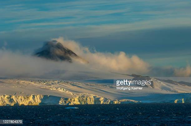 View of Joinville Island in evening light, Antarctic Sound near Hope Bay on the tip of the Antarctic Peninsula.