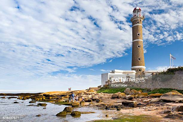 view of josé ignacio lighthouse - jose ignacio lighthouse stock photos and pictures
