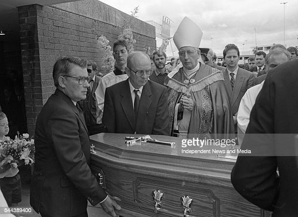 View of journalist Veronica Guerin's coffin as it is carried out of Dublin Airport church after her funeral Dublin Ireland June 29 1996 Among those...