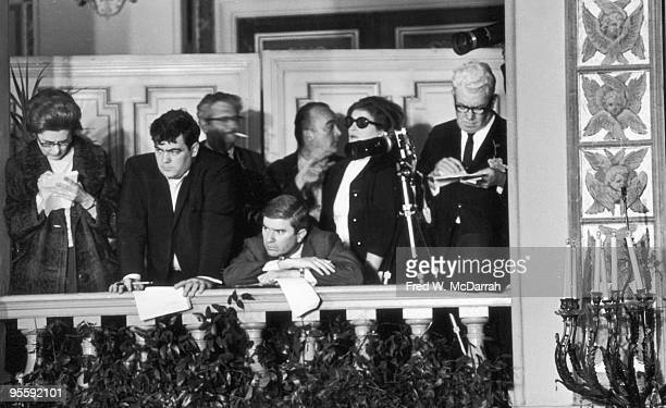 View of journalists crowded in the Plaza Hotel for a press conference New York New York April 26 1967 The conference by Joseph Stalin's daughter...