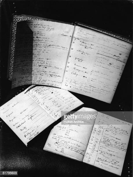 View of journals used by French scientist Pierre Curie and his wife Polishborn chemist and physicist Marie Sklodowska Curie 1900s