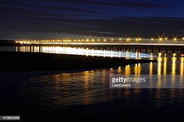 View of Juan Pablo II bridge at Biobio river on April 13th 2015 in Concepcion Chile Concepcion is one of the eight host cities of the next Copa...