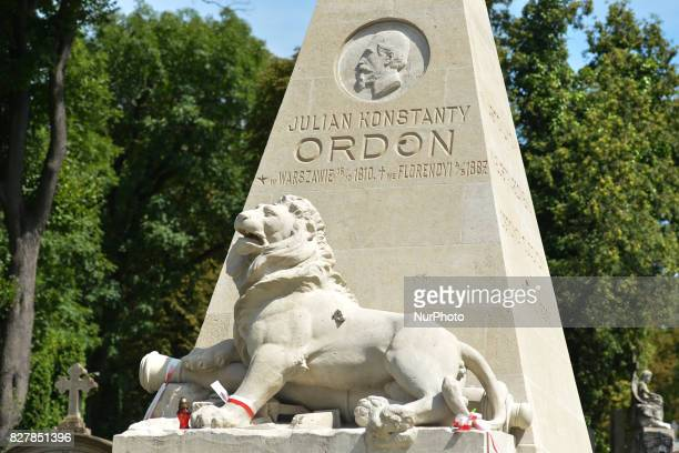 View of Juliusz Konstanty Ordon's tomb, a participant of the Polish November Uprising in 1830-1831, buried at the historic Lyczakowski Cemetery,...