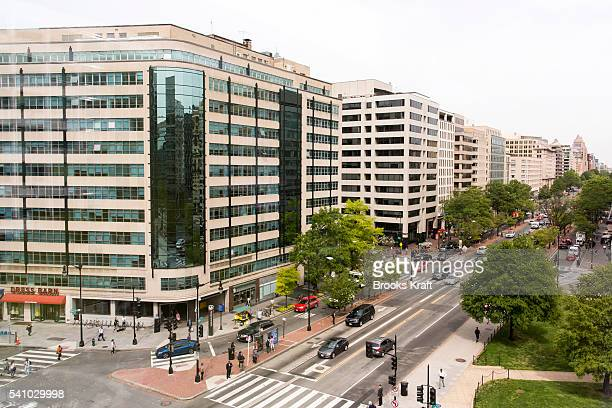 A view of K Street a major thoroughfare known as a center for numerous think tanks lobbyists and advocacy groups April 27 2016 in Washington DC