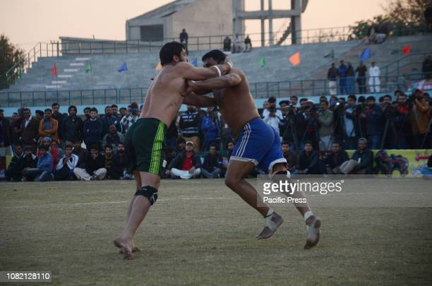 A view of Kabaddi final match between Pakistan green team and Indian teams during International Kabaddi Takra Championship at Punjab Stadium in...