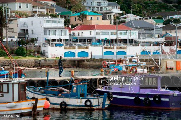 A view of Kalk Bay a trendy fishing village about 30km from the city centre on July 11 in Cape Town Kalk Bay with a combination of trendy restaurants...