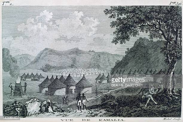 View of Kamalia village in Mandingo country illustration taken from Mungo Park Travels in the interior districts of Africa
