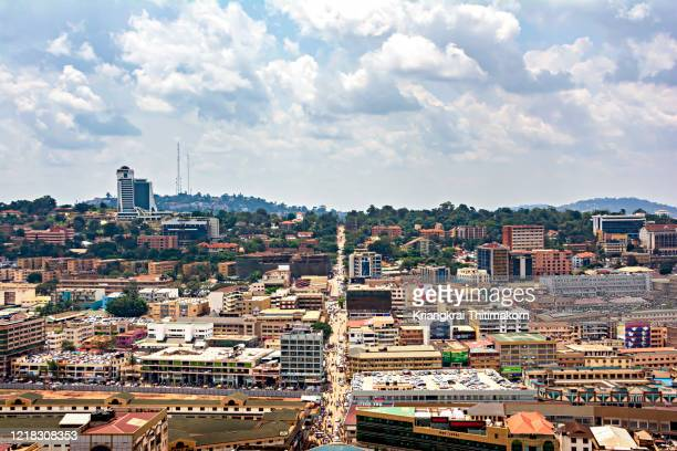 view of kampala city center, uganda. - kampala stock pictures, royalty-free photos & images