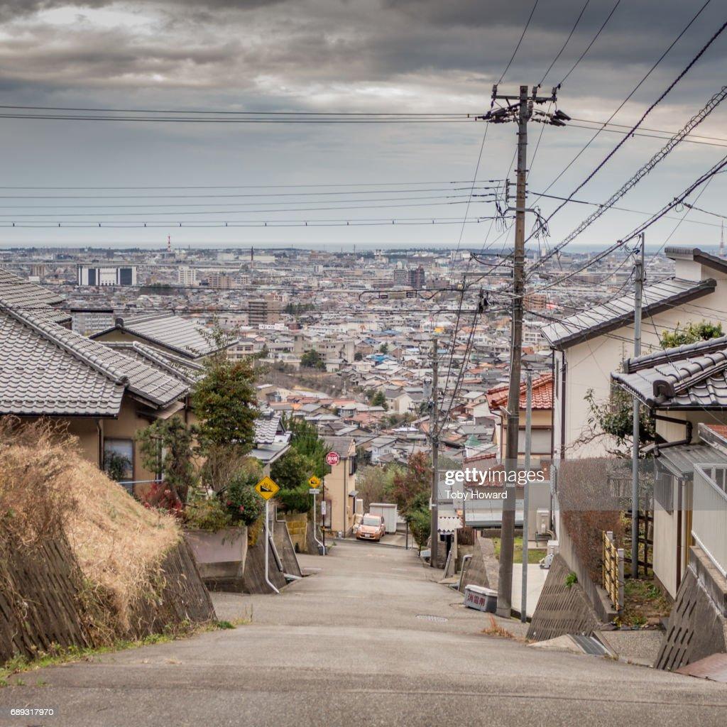 View of Kanazawa city, Japan, from the suburbs : Stock Photo