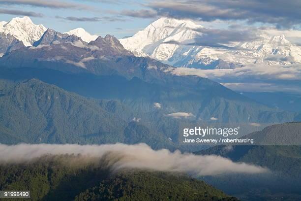 View of Kanchenjunga, Kangchendzonga range, Hanuman Tok viewpoint, Gangtok, Sikkim, India, Asia