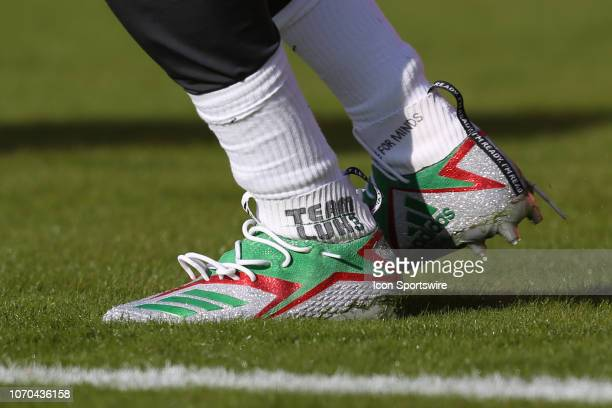 A view of Kansas City Chiefs quarterback Patrick Mahomes cleats during My Cause My Cleats week of an NFL game between the Baltimore Ravens and Kansas...