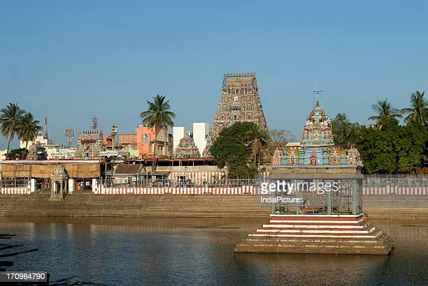 A view of Kapaleesvarar temple with tank Mylapore Chennai Tamil Nadu India