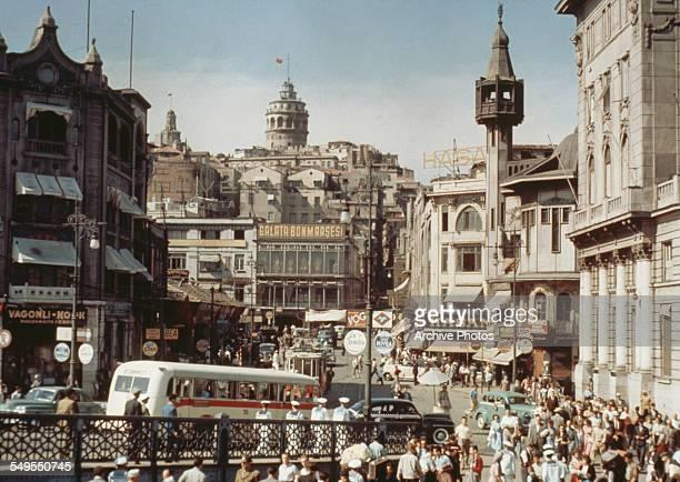 A view of Karaköy Square at the foot of the Galata Bridge Istanbul Turkey circa 1960