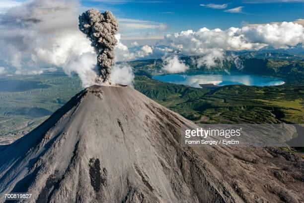 View Of Karymsky Volcano Erupting Against Sky